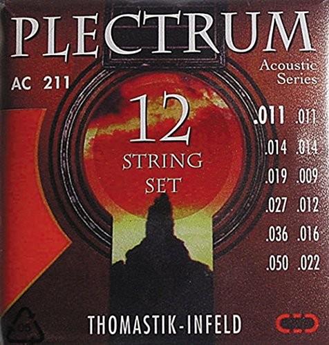 Thomastik 669387 Struny do gitary akustycznej Plectrum Acoustic Series, zestaw AC211 Light 12-strunowy bez niklu 669387