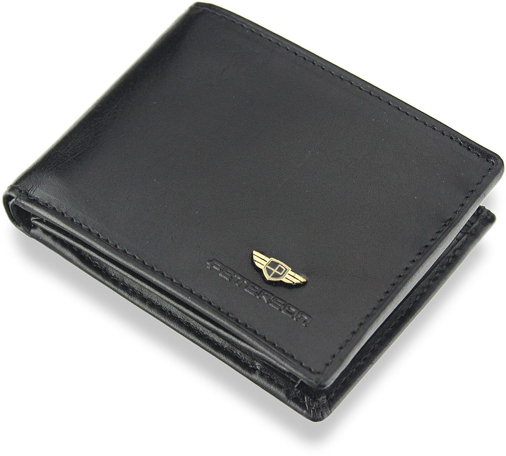 a956f746637c7 Peterson Kompaktowy Portfel Męski Skórzany Mały Zgrabny Poziomy Czarny  SYSTEM RFID 367