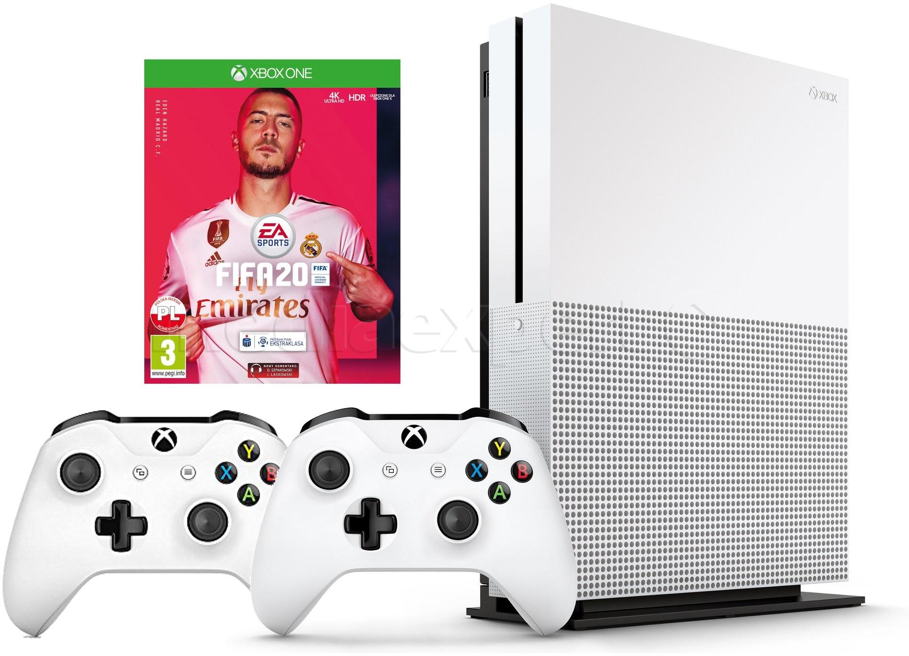 Microsoft Xbox One S 1TB Biały + FIFA 20 + Dodatkowy kontroler