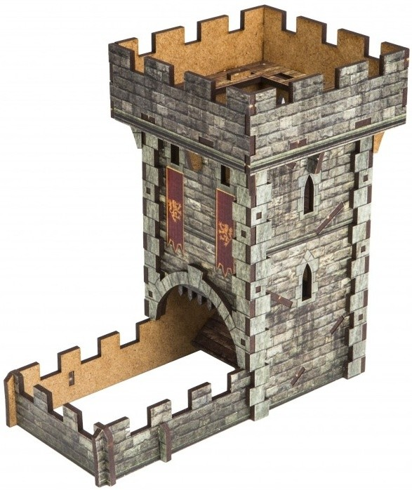 Q-Workshop Dice Tower - kolorowa wieża do rzutów kośćmi - stylizowana na zamkową basztę 5907699493265