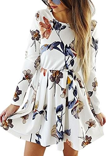 bb482cc6f7 Angashion damska sukienka z długim rękawem A-Line do kolan kwiaty jesienna  sukienka retro-