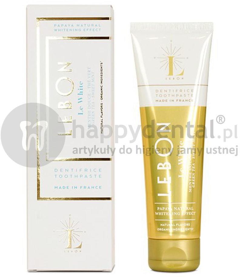 Lebon LEBON LeWhite Toothpaste 75ml (biała) - wybielająca pasta do zębów z naturalnych składników o smaku słodkiej mięty i zielonej herbaty