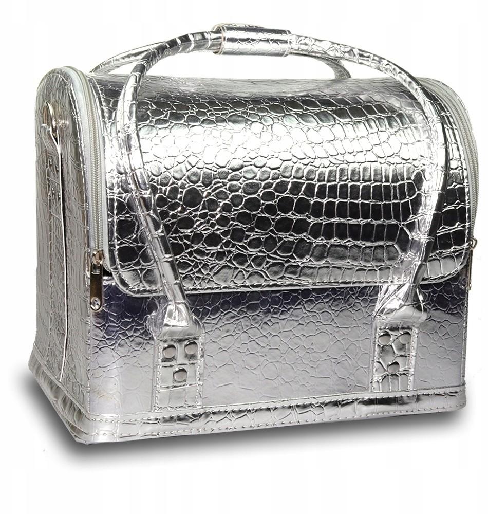 Lux Torba Kuferek Kosmetyczny L Srebrny krokodyl