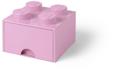 Lego POJEMNIK NA KLOCKI ZABAWKI I INNE KLOCEK 4 WYPUSTKI Z SZUFLADKĄ JASNORÓŻOWY 4005