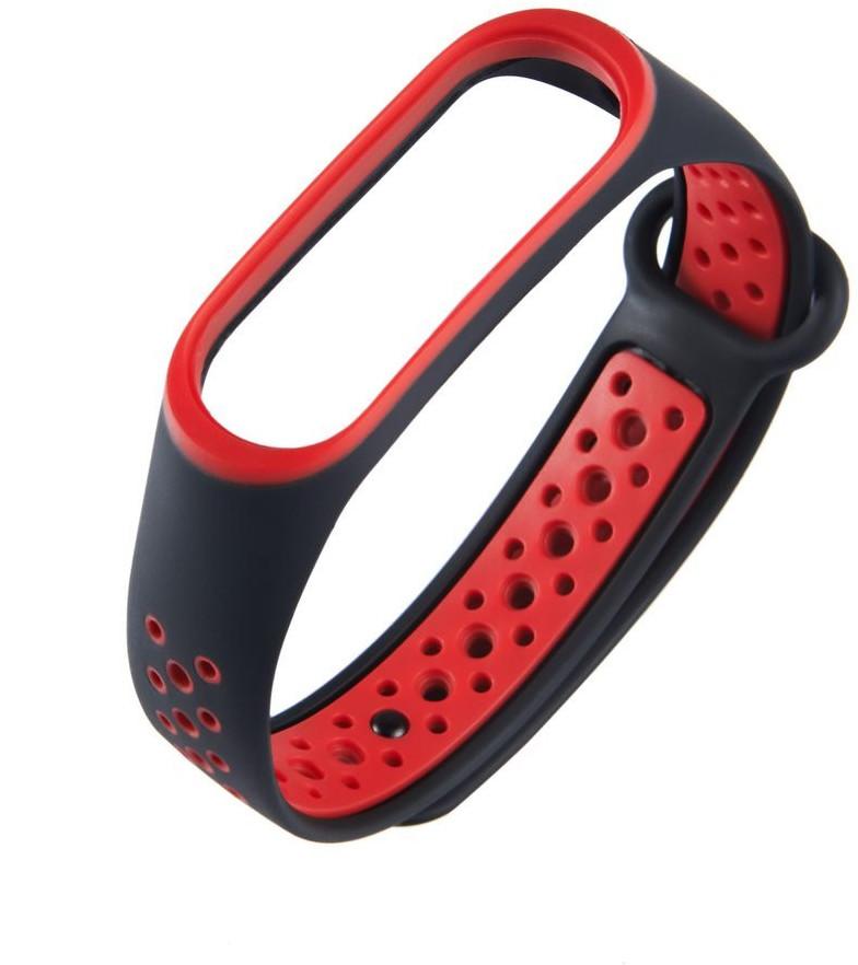 Hurtel Zamienna silikonowa opaska pasek do Xiaomi Mi Band 4 / Mi Band 3 Dots czarno-czerwony