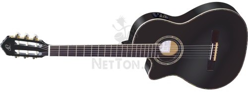 ORTEGA Leworęczna gitara elektro-klasyczna RCE145LBK z pokrowcem i paskiem 2553