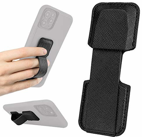 Apple Smartish Smartish Prop Tart Slim Fit uchwyt na telefon komórkowy/smartfon uchwyt uchwyt uchwyt pętla obsługa jedną ręką i podpórka do stojaka [do wszystkich telefonów iPhone i Android] czarny PT-BLACK