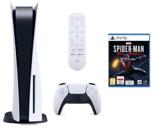 Sony PlayStation 5 + Dodatkowy kontroler DualSense + Marvels Spider-Man Miles Morales + pilot