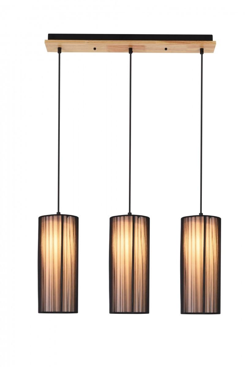 LUNO Lampa Wisząca Kioto 3 S LUNO styl ekologiczny drewno,pcv czarny 50103219