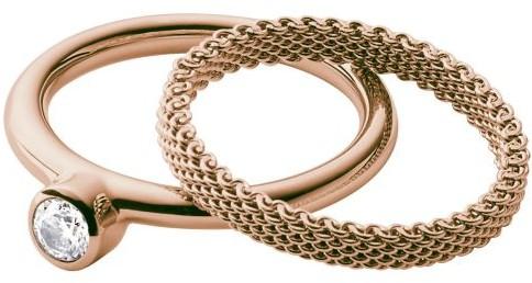 Skagen pierścionek damski ze stali nierdzewnej 1oczko szklane (różowe), stal szlachetna, różowe złoto SKJ0852791-505