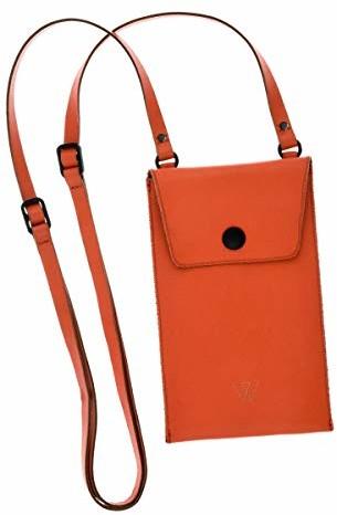 Samsung Wunschleder Wunschleder Skórzana torba na ramię na telefon komórkowy, z przegródką na pieniądze i kartę, skóra premium pomarańczowa, pasuje do iPhone'a, Galaxy, LG, Huawei, 17,5 x 10,5 cm 03A00688-00-Orange-175 x 105 mm