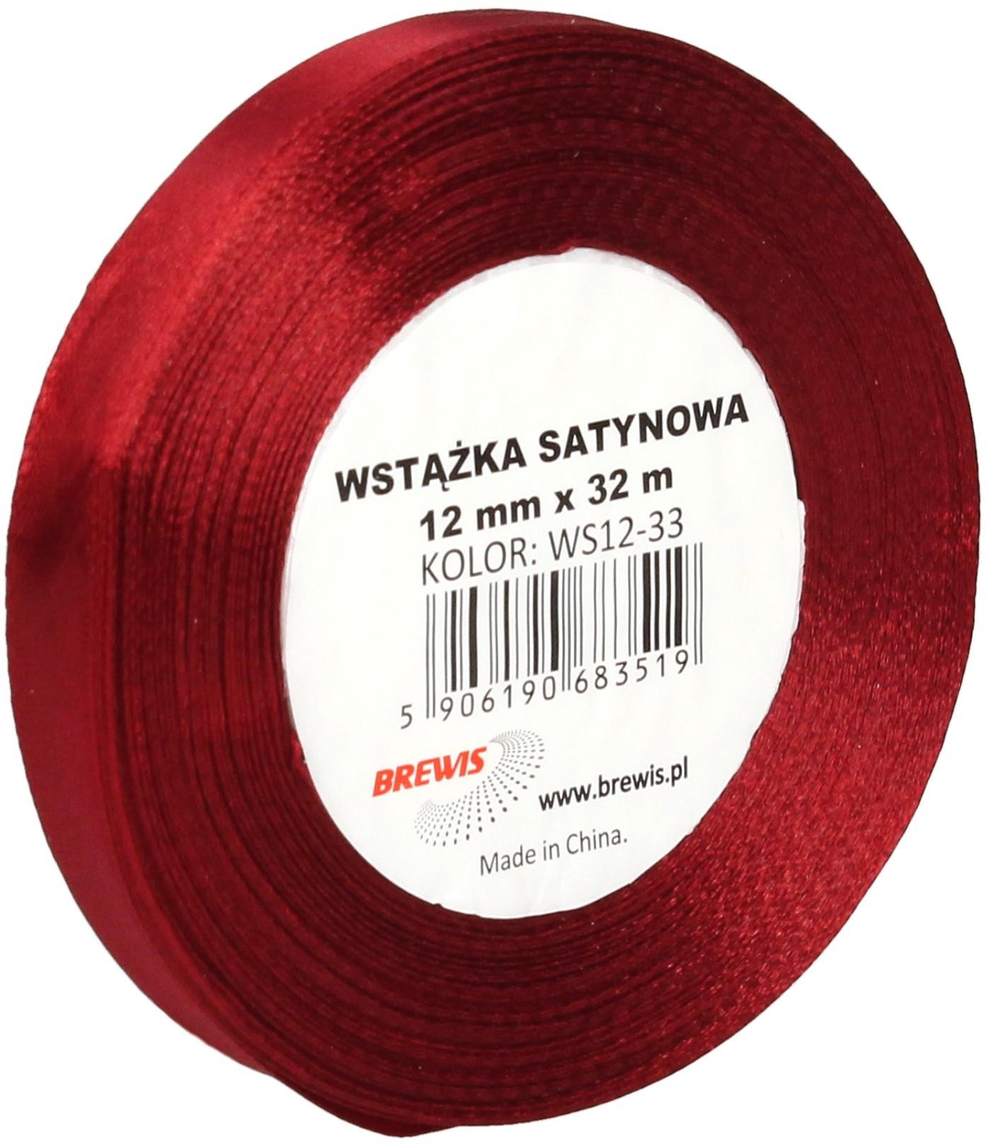 Brewis Wstążka dekoracyjna satynowa 12mm/32m ciemnoczerwona