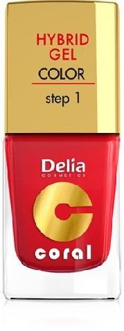 Delia Cosmetics Cosmetics, Coral Hybrid Gel, lakier do paznokci nr 01 czerwony, 11 ml