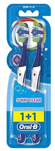 Oral-B Oral B Complete ręczna szczoteczka do zębów z 5 strefami czyszczenia, 40 średni, dwupak, 2 sztuki (posortowane pod względem koloru)