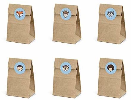 Unbekannt 6szt. torebką na prezent Las zwierząt torebki papierowe torebki torebki na prezenty worek prezent urodziny dziecięce impreza urodziny dziecka Impreza Dekoracja przygotowano szereg akcesoriów muzyczny 3741 rilo