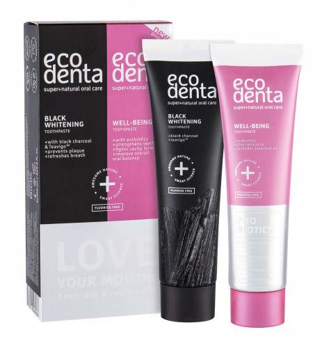Ecodenta Ecodenta Toothpaste Love Your Mouth zestaw Wybielająca pasta do zębów Black Whitening 100 ml + Pasta do zębów Well Being 100 ml unisex