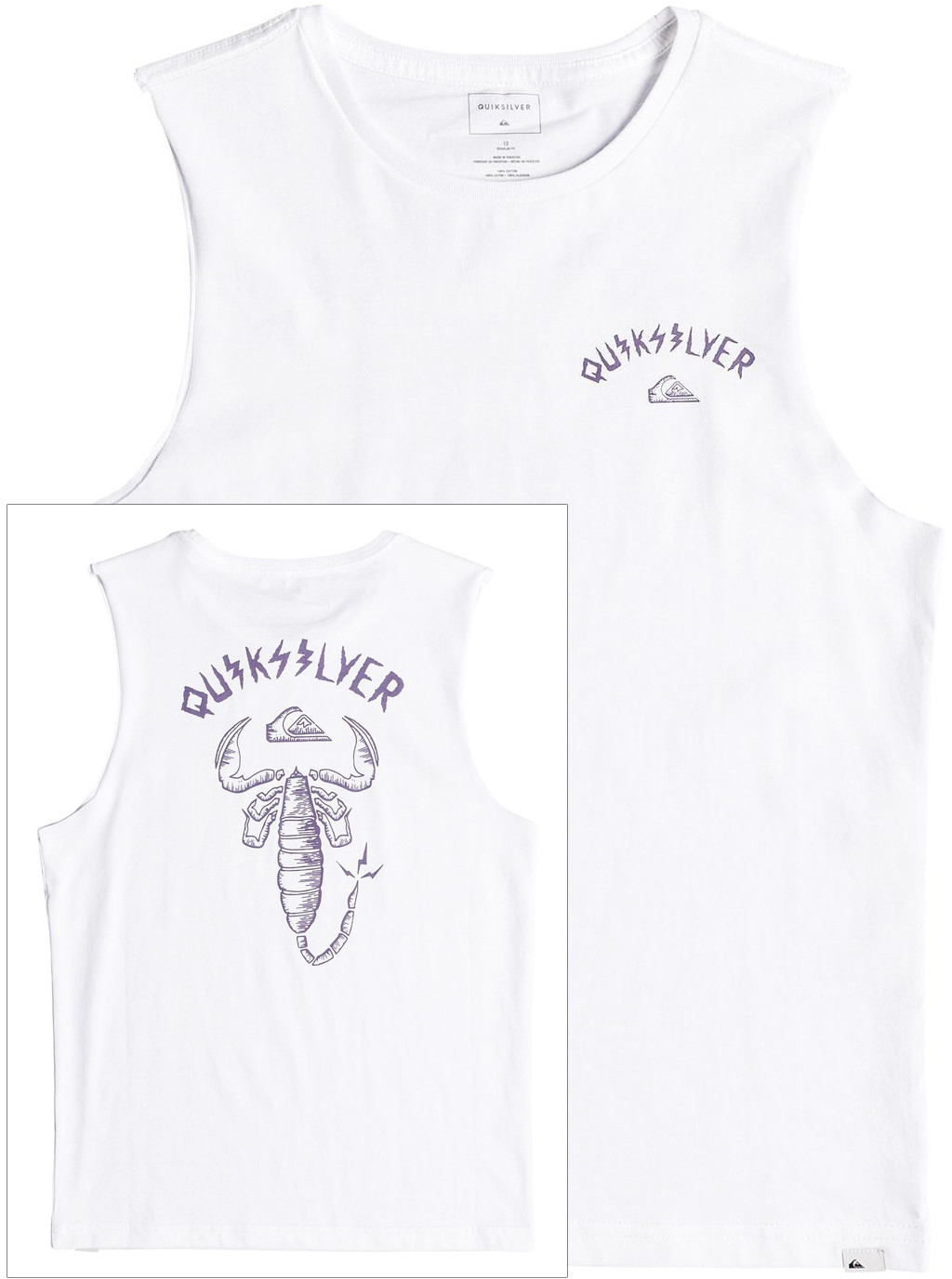 Quiksilver top MUSCLE WALLS OF DEATH YOUTH White WBB0
