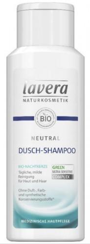 Lavera szampon pod prysznic z neutralnym szamponem, ekologiczna świeca nocna, łagodna receptura bez mydła i atopowego zapalenia skóry, medyczna pielęgnacja skóry, wegański, naturalne kosmetyki, żel po