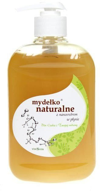 Vinsvin Mydełko Naturalne w płynie z Nanosrebrem oraz aktywnymi substancjami leczniczymi na alergie i inne problemy skórne 500 ml VINSVINMYDPŁYN