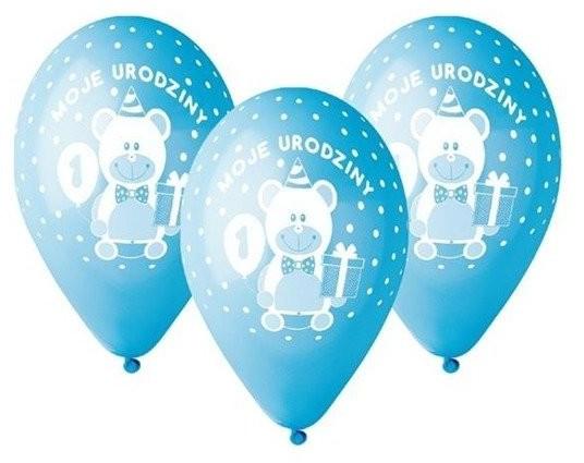 Godan Balony na Roczek Moje 1 urodziny z misiem niebieskie 30cm 5 sztuk GD-M1UC1 GD-M1UC1