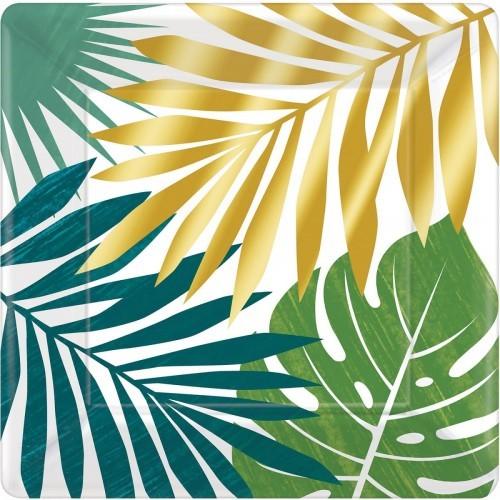 Amscan Talerzyki papierowe w egzotyczne liście 25 cm TALPAP/9252-A