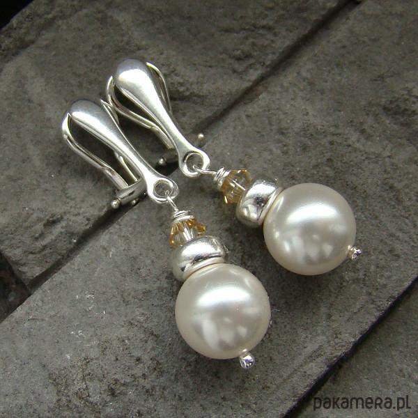 Perły w srebrze - klipsy