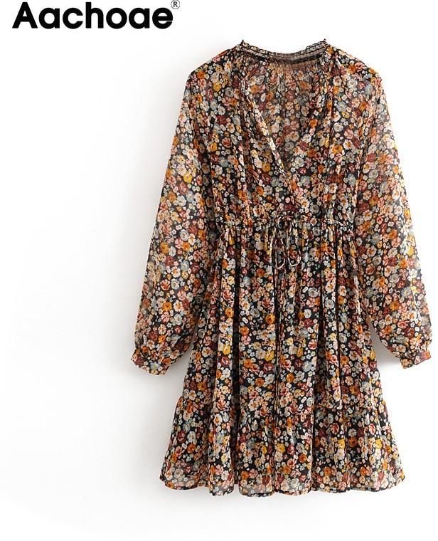 Lato w stylu Boho w kwiaty sukienka z nadrukiem kobiety latarnia z długim rękawem plisowane sukienki