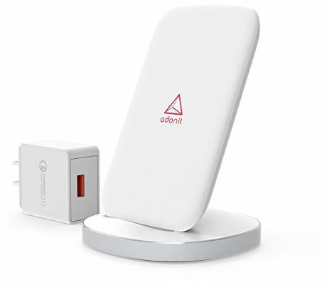 Samsung adonit Adonit Wireless Fast Charging Stand + ładowarka QC 3.0 (ADWFCSEUW) do Qi kompatybilna z iPhone Xs/Xs Max/XR/X/ 8/8 Plus, Galaxy S9 / S9+ / S8 / S8+, Note 8/9, kolor biały ADWFCSEUW