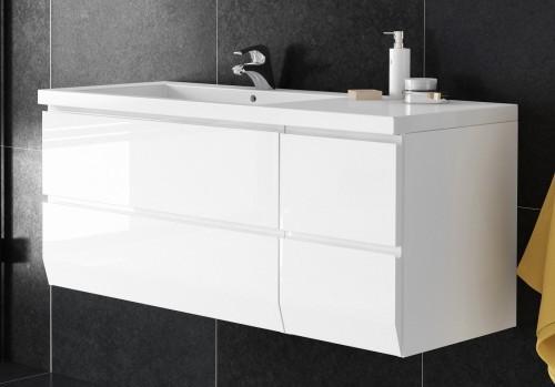 Oristo Szafka wisząca z umywalką BRYLANT 125 cm , LEWA BIAŁY POŁYSK OR36-SD-85-1 + OR36-SD-40-1 + UM-125L-BRILLIANT-DARMOWA DOSTAWA OR36-SD-85-1 + OR36-SD-40-1 + UM-125L-BRILLIANT