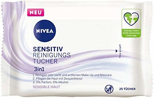Nivea Chusteczki do czyszczenia skóry wrażliwej 3 w 1 (25 sztuk), delikatne chusteczki do oczyszczania twarzy z dekspantenolem, delikatne chusteczki do demakijażu dla skóry wrażliwej