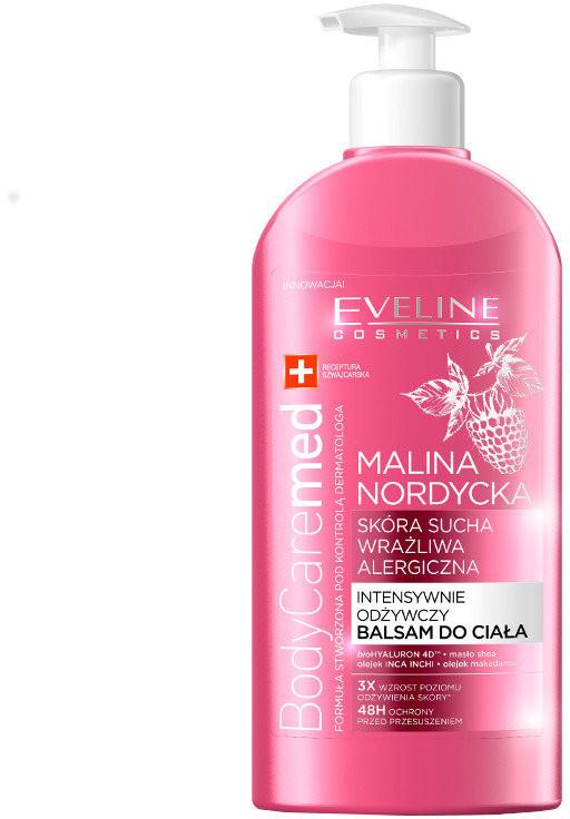 Eveline Body Caremed+, balsam do ciała intensywnie odżywczy do skóry suchej i alergicznej, Malina Nordycka, 350 ml