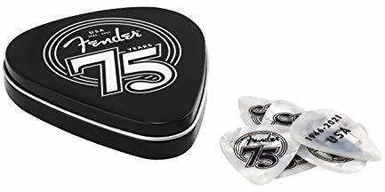 Fender 75TH ANNIVERSARY PICK TIN BOX kostki celuloid - kształt: 351-18 sztuk w puszce jubileuszowej - Medium - White Pearl 1980351075