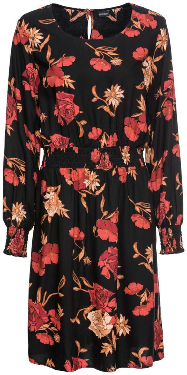 29be2f068e Bonprix Sukienka boho z nadrukiem  MUST HAVE czarny w kwiaty