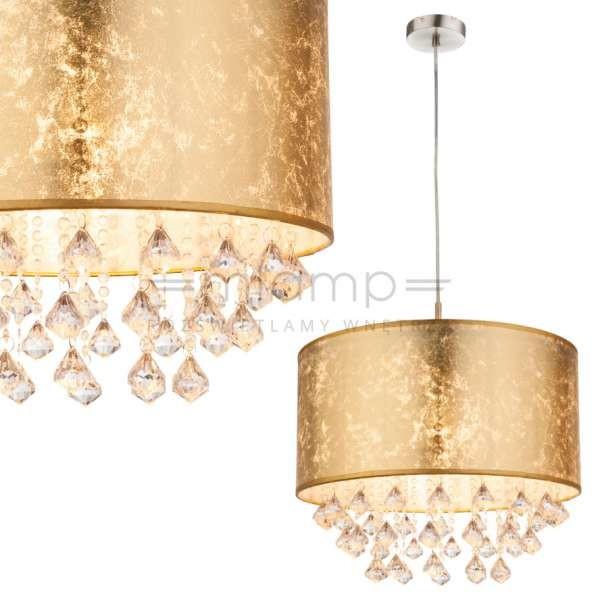 Globo Lighting LAMPA wisząca AMY 15187H3 okrągła OPRAWA abażurowa ZWIS z kryształkami glamour crystal złoty 15187H3