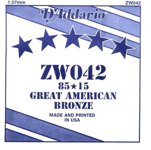D'Addario zw042Bronze-indywidualnej struny do gitary 0,11cm (0,042cala) ZW042