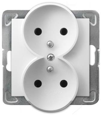 LEDart podwójne z uziemieniem, bez ramki - Ospel Impresja GP-2YRZ/m/00, kolor biały, 16A/250V