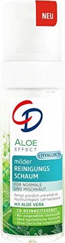 CD Aloe Effect łagodna pianka do czyszczenia, głębokie oczyszczanie porów, z kwasem hialuronowym i aloesem, pianka do delikatnej pielęgnacji twarzy, nadaje się do skóry wrażliwej, wegańska, 150 ml