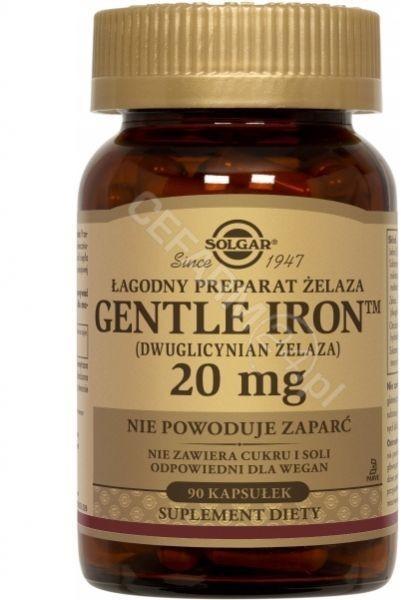 Solgar Gentle Iron żelazo 20 mg x 90 kaps