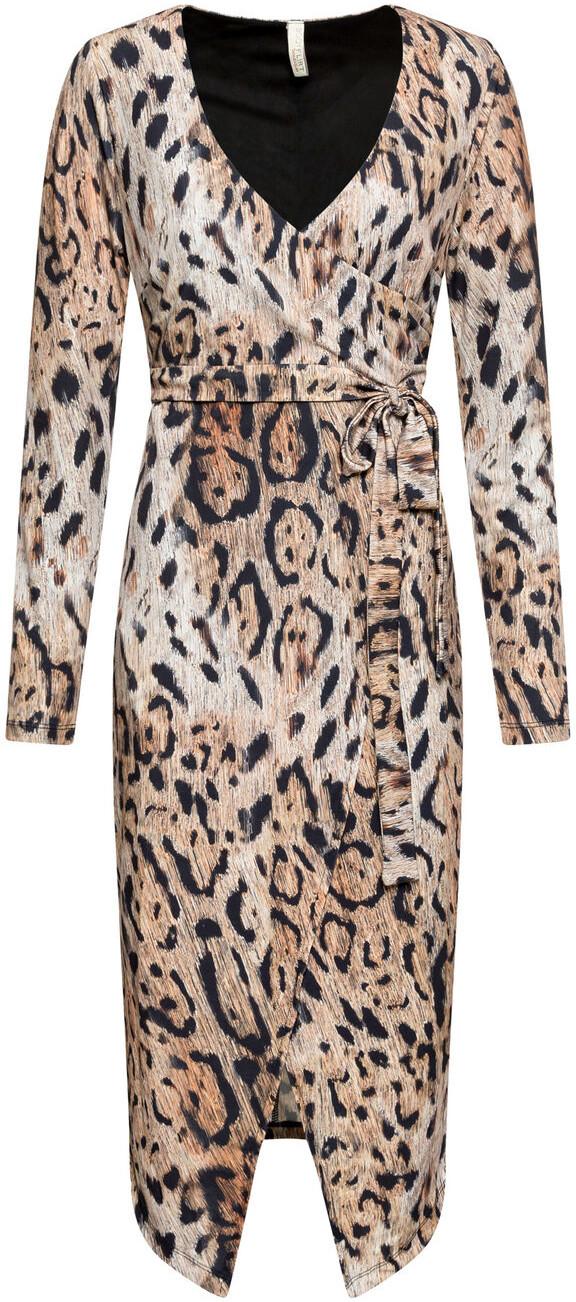 Bonprix Sukienka midi w cętki leoparda brązowy leo