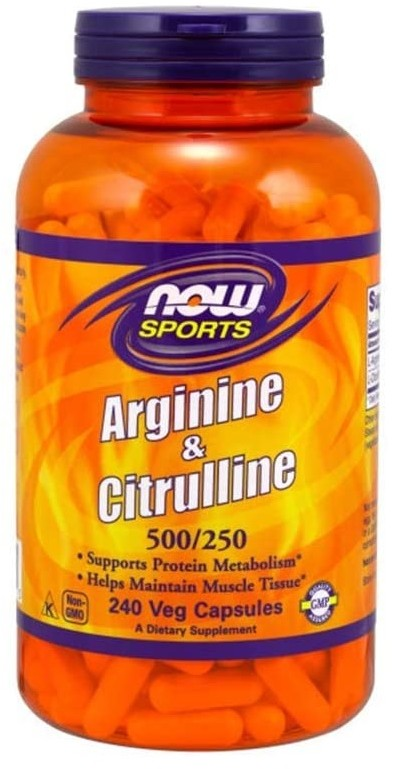 Now Foods NOW SPORTS Arginine & Citrulline 500/250 (Arginina i Cytrulina) 240 kapsułek wegetariańskich