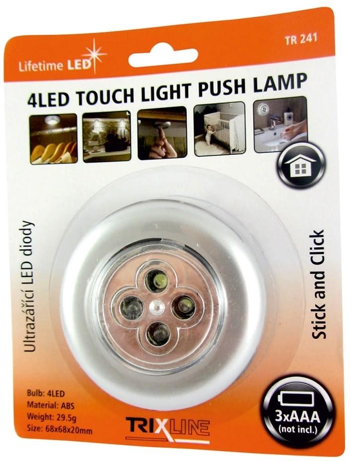 Baterie Centrum LED Nocne światło dotykowe 4xLED/3xAAA srebrny