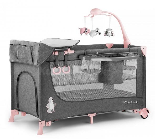KinderKraft łóżeczko turystyczne JOY pink z akcesoriami KKLJOYPNK000AC