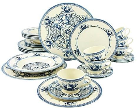 Creatable 17905 seria, Tiara Blue, zestaw zastawa stołowa serwis łączony 30-częściowy, kamienia, wielokolorowa, 40 x 32.5 x 32 cm, jednostek 17905