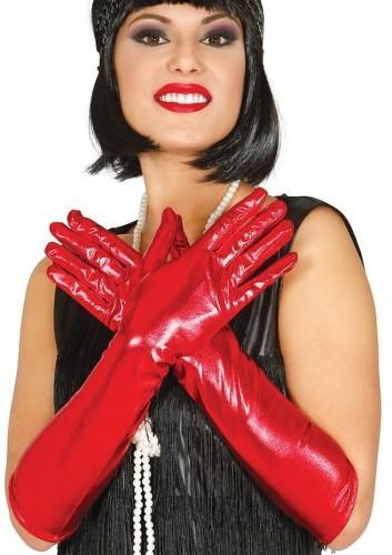 PARTY WORLD Rękawiczki balowe długie, metalizowane czerwone REKA/6718-G