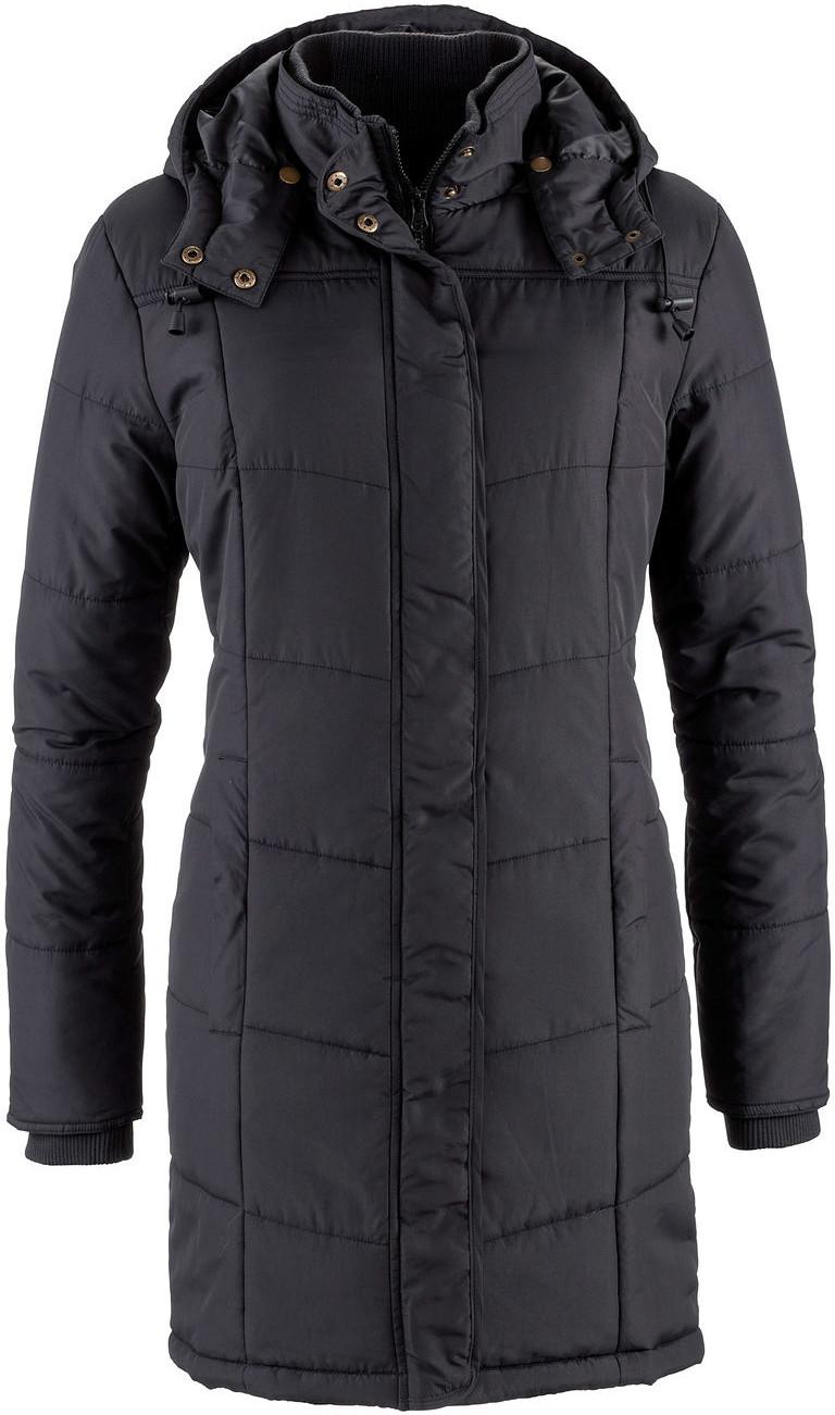 Bonprix Długa kurtka pikowana, ocieplana czarny