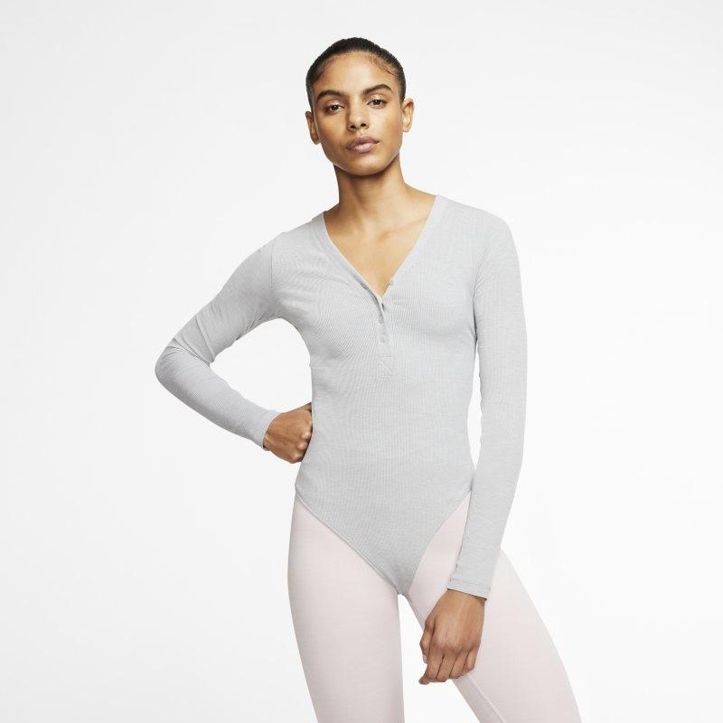 Nike Damskie body z długim rękawem Yoga Luxe - Szary CJ5276-073