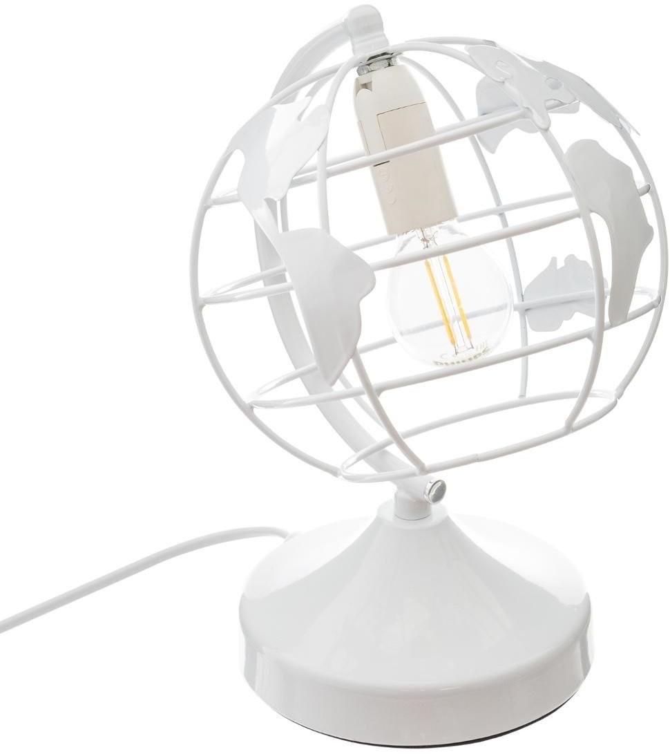 Atmosphera for kids Lampka nocna GLOBUS metalowa kolor biały B07WSN4M4C
