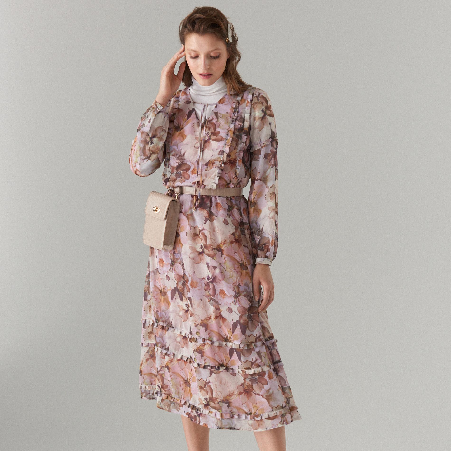 MOHITO Midi sukienka w kwiaty - Różowy
