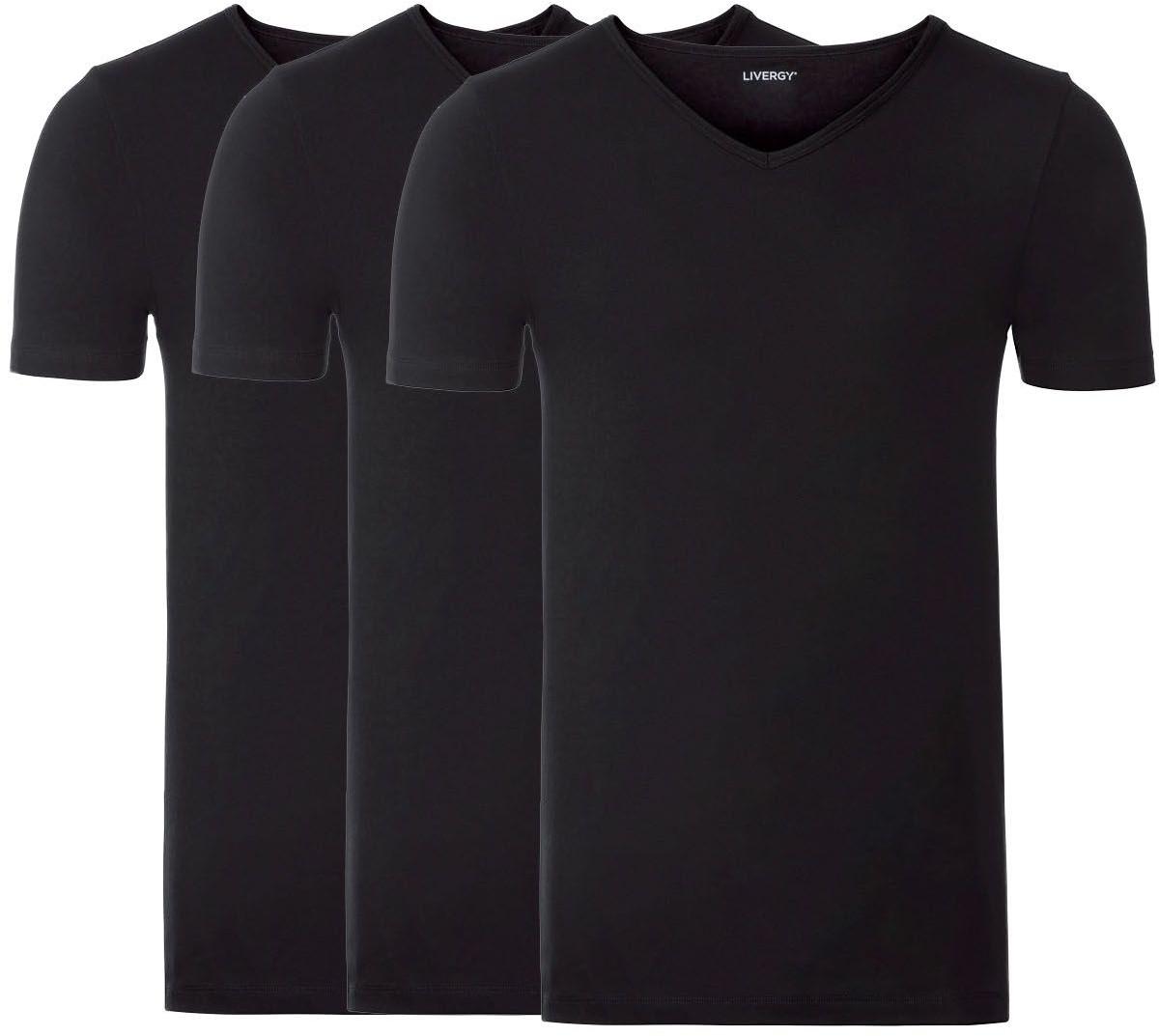 LIVERGY LIVERGY Podkoszulka męska XXL z krótkim rękawem, z bawełny, 3 sztuki (10/4XL, Czarny, Dekolt w kształcie litery V) 4056233978421