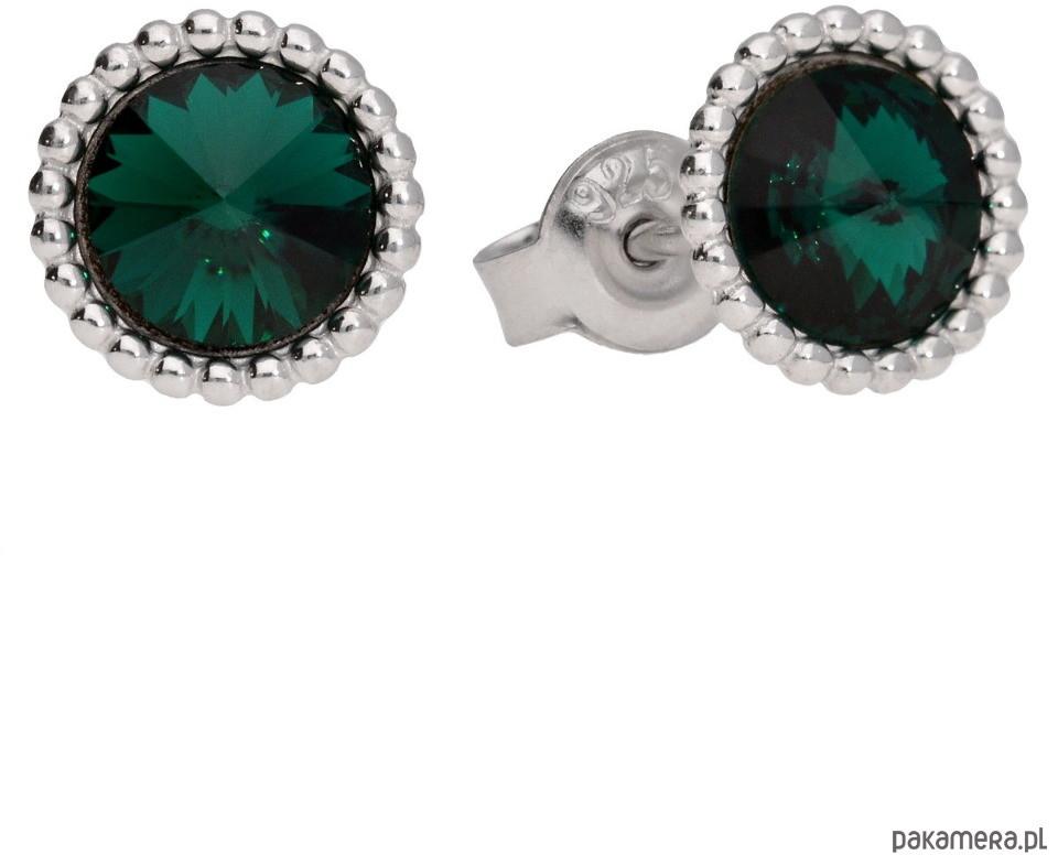 Swarovski Kolczyki srebro z ornamentem zielone